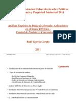 XII INDECOPI 2011 Análisis empírico del PM,Aplicaciones - Control de Fusiones y Concentraciones