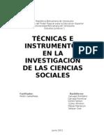 Técnicas e Instrumentos en la Investigación de las ciencias sociales