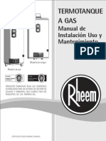 Manual Termotanques Rheem - Linea Gas