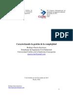 Caracterizando la gestión complejidad. Rodrigo García