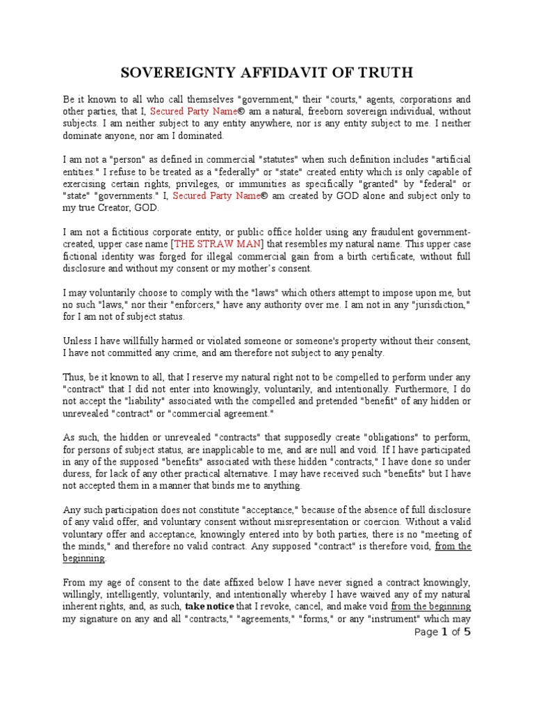 Sovereignty Affidavit of Truth Made Simple Template Example