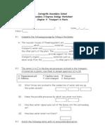 Chapter 9 Transport in Plants - Worksheet