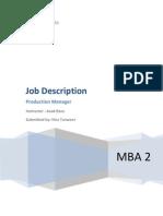 Job Description Production Manager
