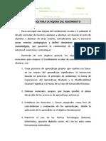 A) Objetivos Propios Par Ala Mejora Del Rendimiento Escolar.