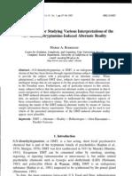 A Methodology for Studying Various Interpretations of the N,N-Dimethyltryptamine-Induced Alternate Reality