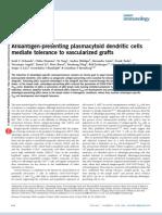 Alloantigen-presenting pDc Mediate Tolerance to Vascularized Grafts