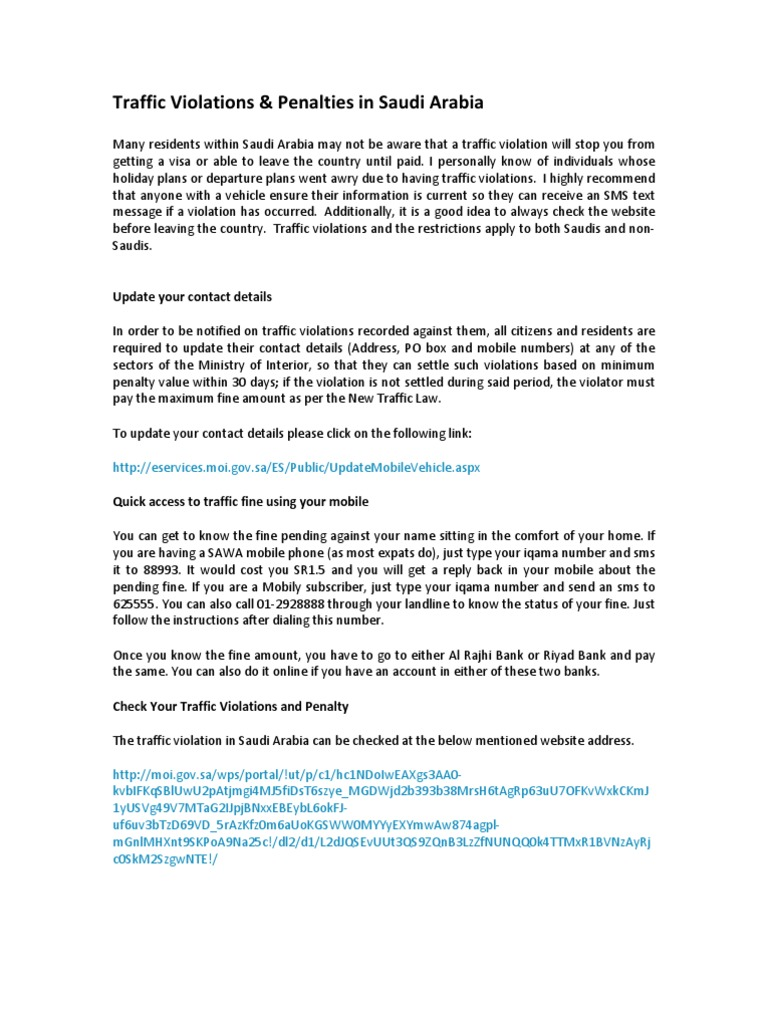 KSA Traffic Violations & Penalties   Traffic   Vehicles
