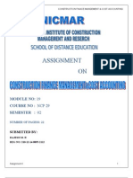 Assignment No 4-Construction Finance Management and Cost Accounting
