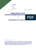 MODALITÉS DE CALCUL  DU RATIO INTERNATIONAL DE SOLVABILITÉ