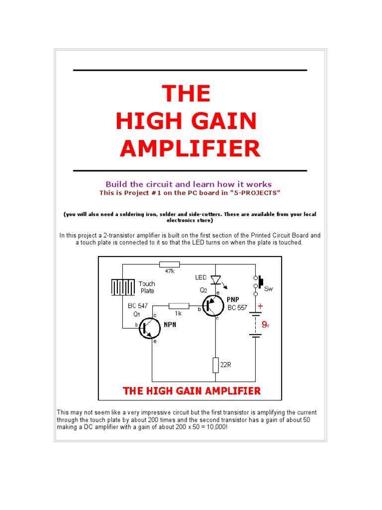 High Gain Amplifier Bipolar Junction Transistor Led Project Circuit Diagram