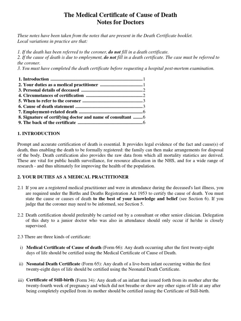 The Medical Certificate Of Cause Of Death Notes For Doctors
