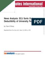 News Analysis ECJ 2010_deductibility University Fees