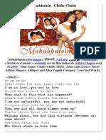 Mohabbatein   Chalte Chalte