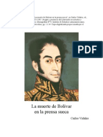 La muerte de Bolivar en la prensa sueca