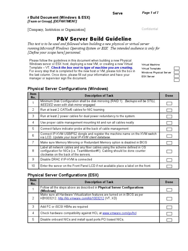Windows server build checklist template word