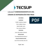 CÁLCULO Y DIMENSIONAMIENTO DE UNA CÁMARA DE REFRIGERACIÓN PARA FRESA