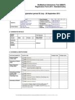 Bmat Reg Form 2011 Standard Entry