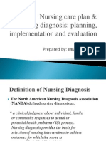 BN1151 Lecture on Nursing Care Plan and Nursing Diagnosis Planning Implementation and Evaluation 0