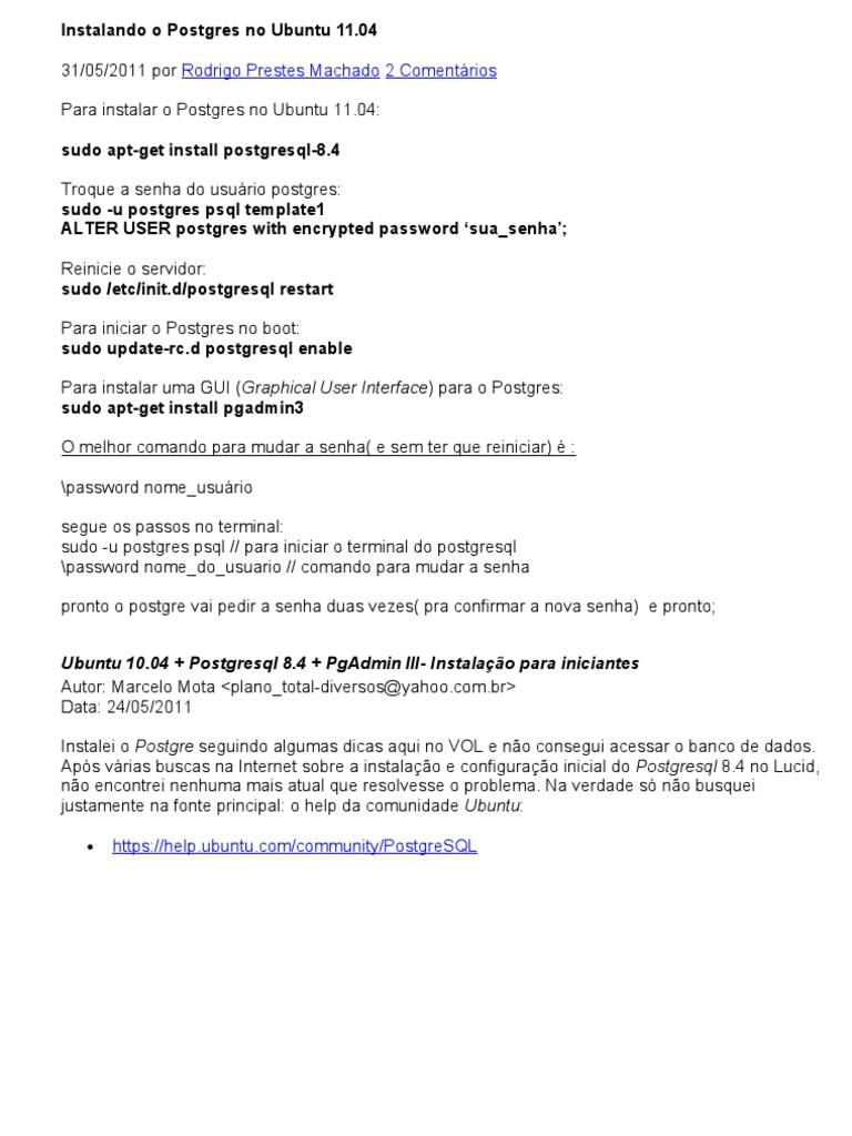 Instal an Do o Postgres No Ubuntu