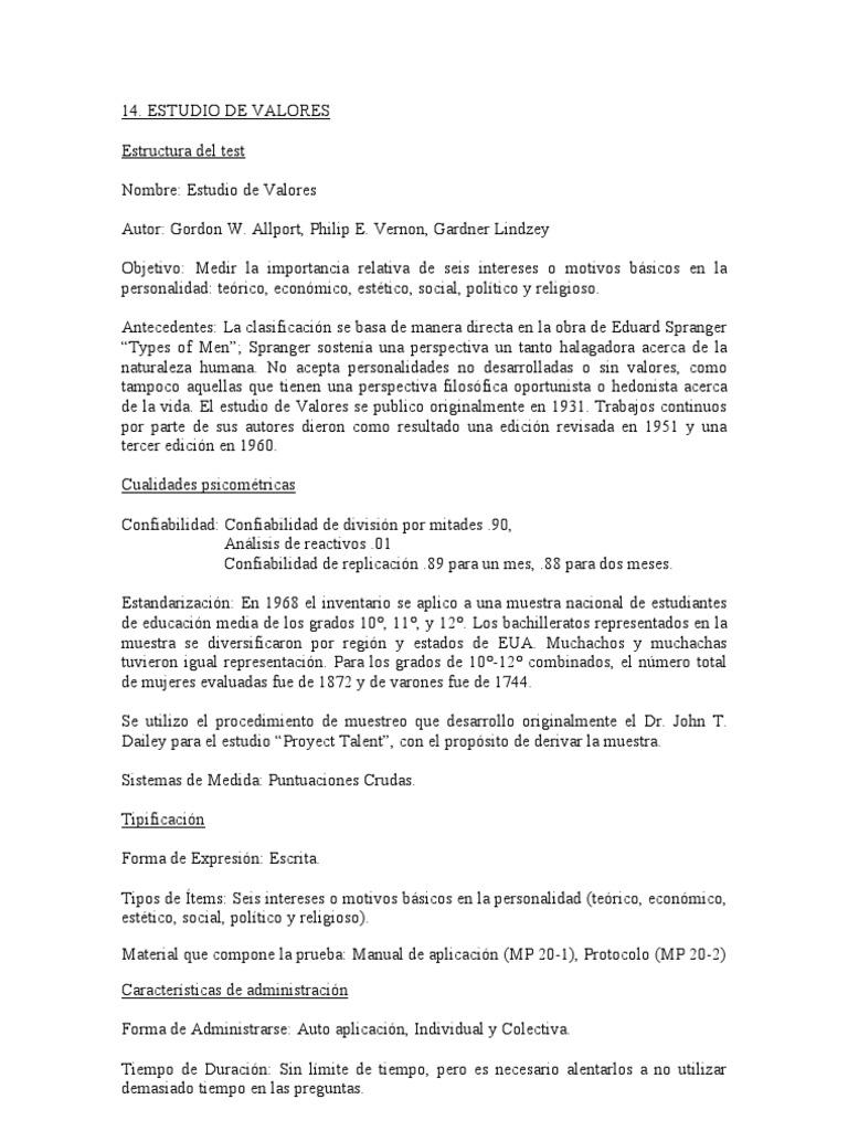 ALLPORT - VERNON - LENDZEY STUDY OF VALUES