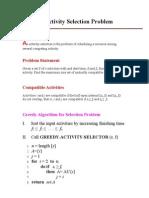 An Activity Selection Problem