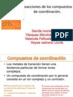 Reacciones de los compuestos de coordinación