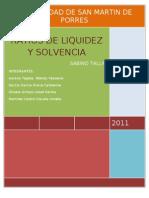 Los Ratios Financieros de Liquidez y Solvencia