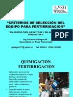 Criterios de Seleccion de Equipo Para Fertirrigacion