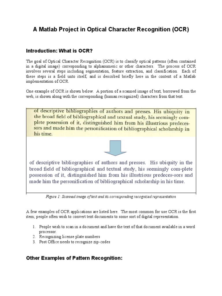 Ocr | Optical Character Recognition | Statistical Classification
