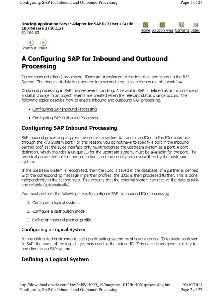 Configure Sap Edi | Load Balancing (Computing) | Server