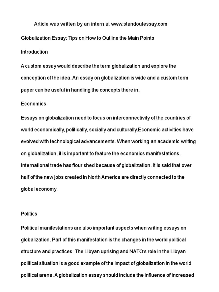 an essay on globalisation essay about globalization template  essay about globalization template essay about globalization