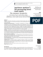 """When experience matters""_ building and measuring hotel brand equity_ The customers' perspective"