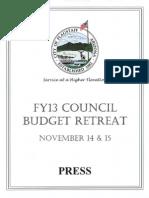 FY2013 November Council Retreat Prelim