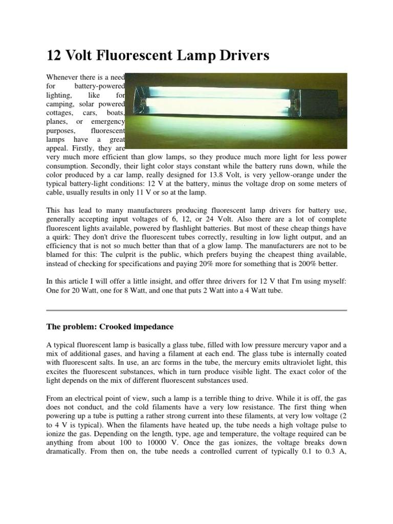 12 Volt Fluorescent Lamp Drivers