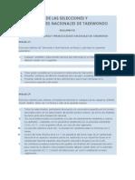 REGLAMENTO DE LAS SELECCIONES Y PRESELECCIONES NACIONALES DE TAEKWONDO
