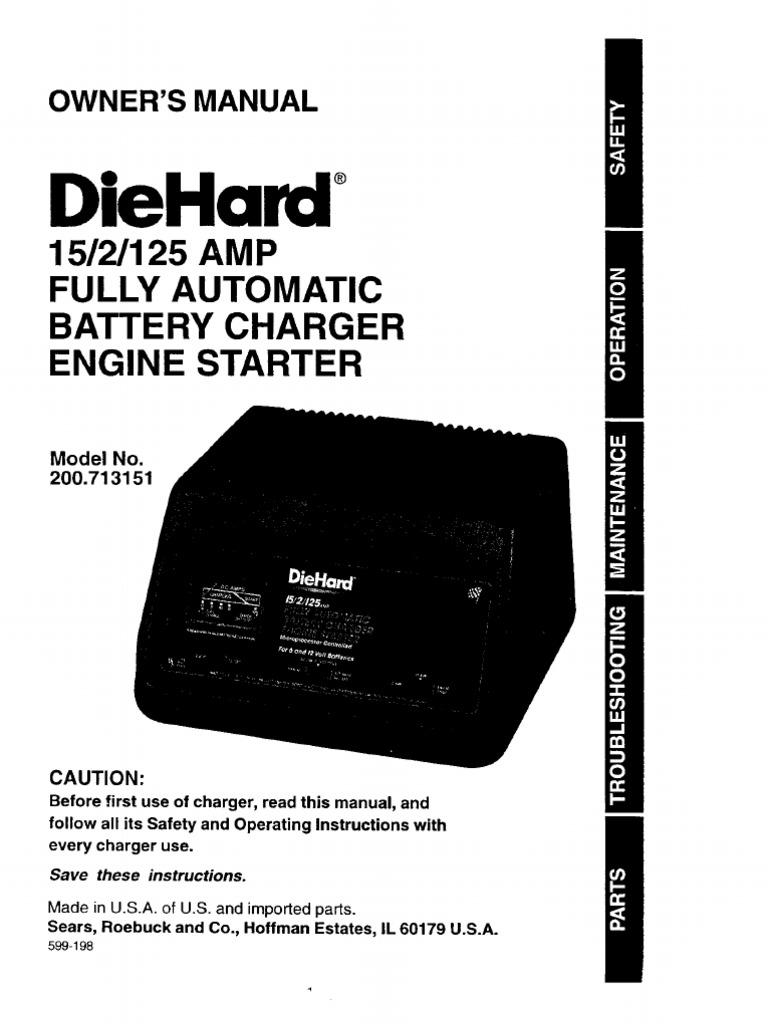 DieHard Automatic Battery Charger Manual – Diehard Battery Charger Wiring Diagram