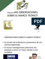 ALGUNAS OBSERVACIONES SOBRE EL MARCO TEÓRICO