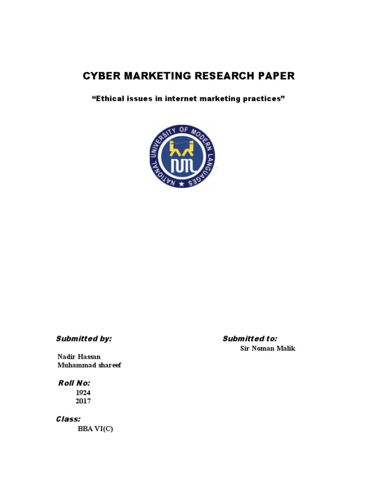 internet marketing research paper