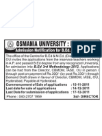 Osmania Univ Admission Notification BEd 3rd Methodology 15112011