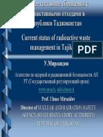 Текущее состояние обращения с радиоактивными отходами в Республики Таджикистан