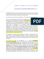 La Internacional Comunista y Su Impacto en Los Inicios Del Comunismo Colombiano