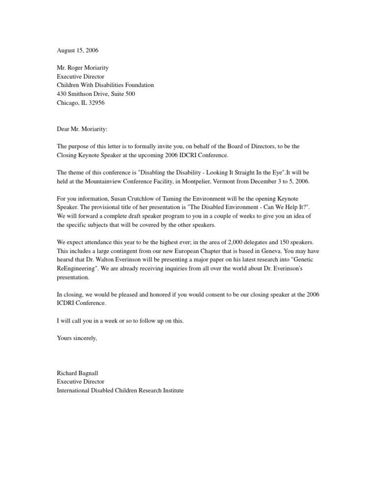 Sample Invitation Letter For A Seminar Speaker.  Invitation Letter Invite Conference Speaker