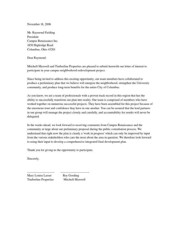 Letter of Interest To Participate in a Project – Intent Letter Format
