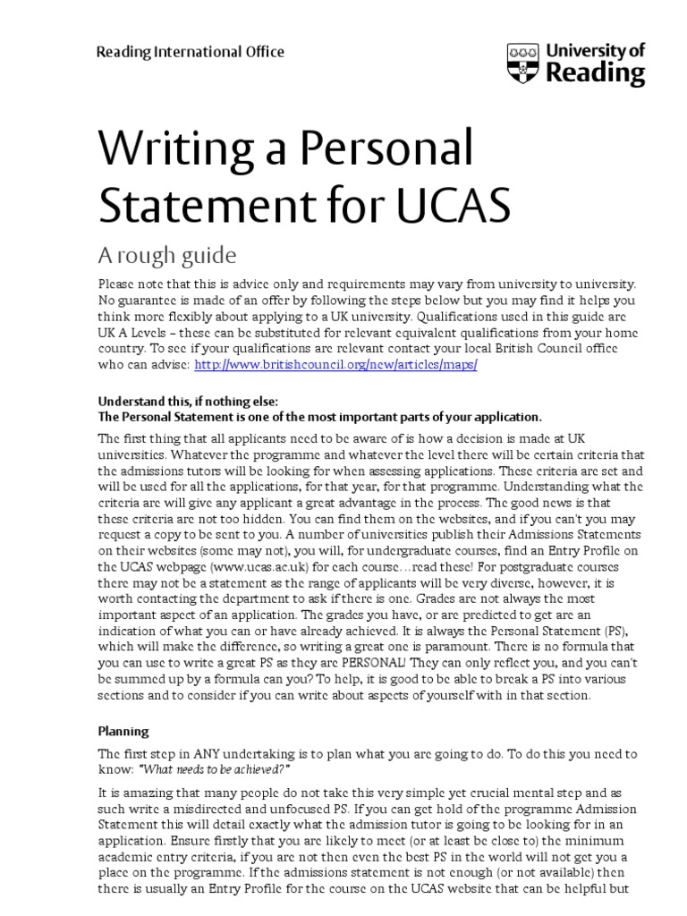 Personal statement for ucas