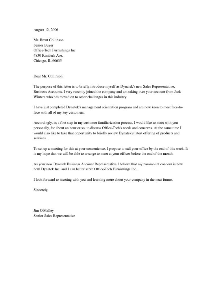 letter introducing