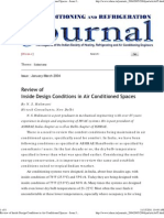 Review of Inside Design Conditions in Air Conditioned Spaces - Issue Jan-Mar 2004
