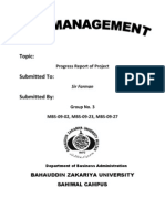 Progress Report. R.M