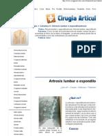 Artrosis Lumbar o Espondiloartrosis