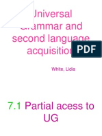 Universal Grammar and Second Language Acquisition