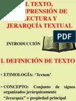 El texto - Comprensión de lectura y jerarquía textual